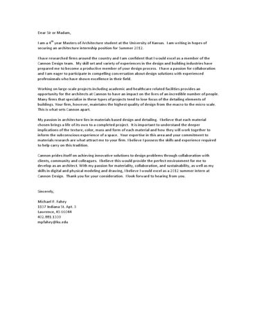 th i am a 4 year masters of architecture student at the university of kansas i am writing in hopes of securing an architecture internship position for - Architecture Internship Cover Letter