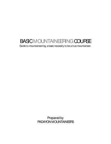 2fb8466f22701 Basic Mountaineering Course by Ewak Hernandez - issuu
