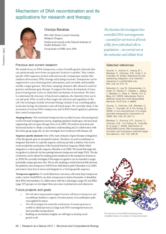EMBL Research at a Glance 2012 by European Molecular Biology