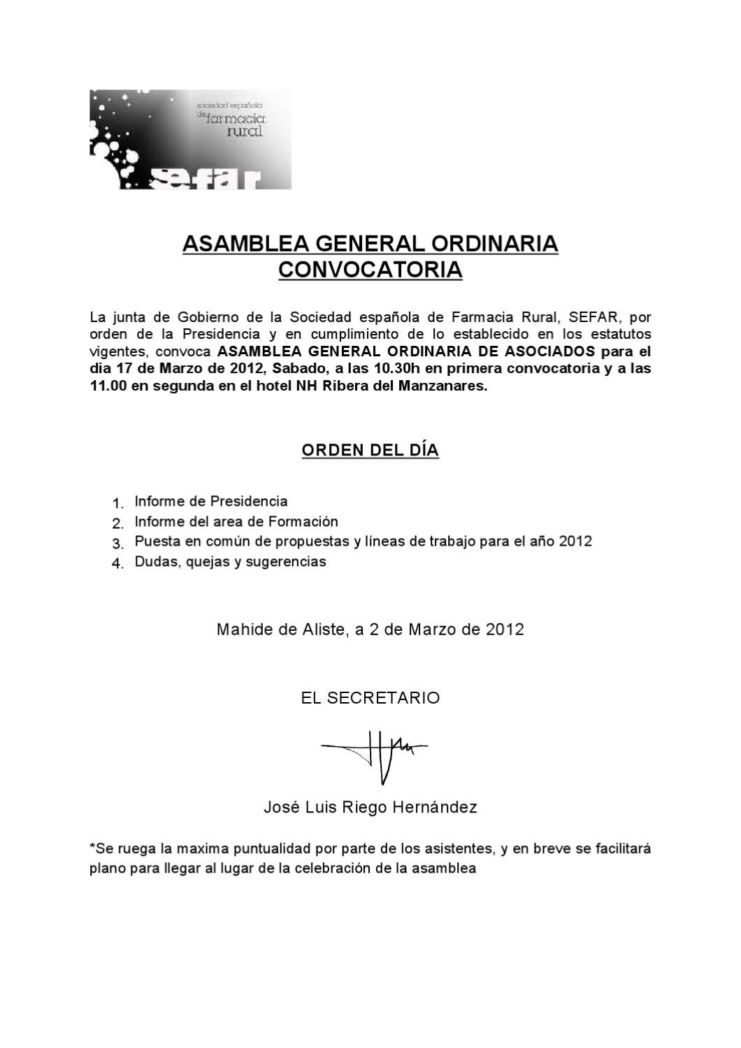 Convocatoria Asamblea General SEFAR 2012 by SEFAR - issuu