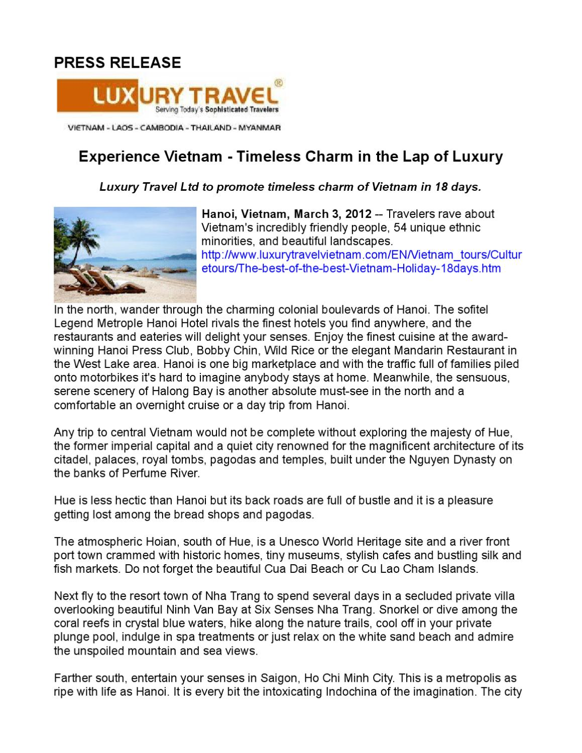 Experience Vietnam Timeless Charm In The Lap Of Luxury By Star One Public Relations Issuu