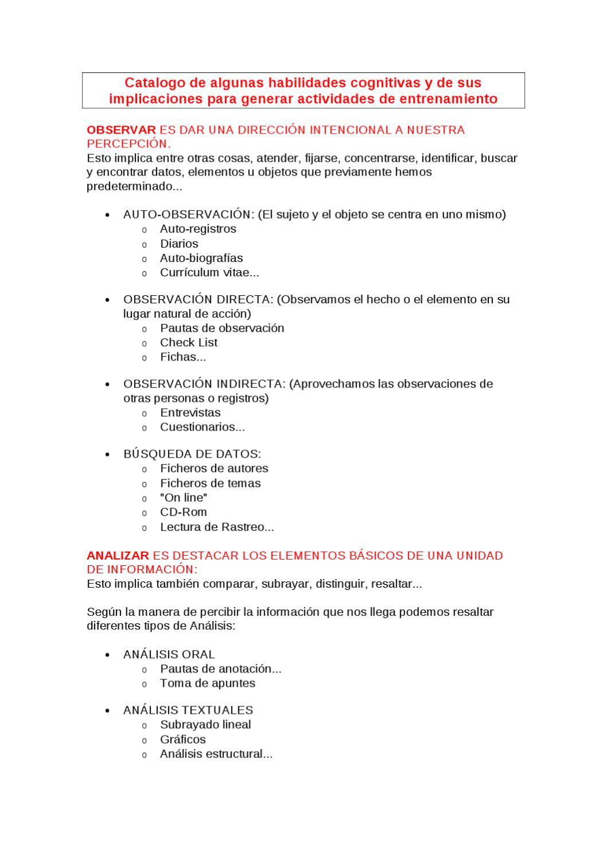 Catalogo de algunas habilidades cognitivas by jose luis - issuu