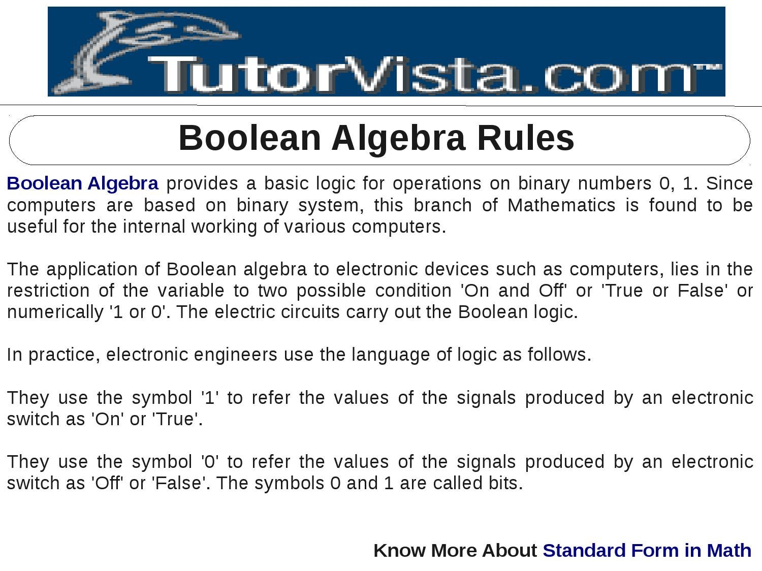 Boolean Algebra Rules By Tutorvista Team Issuu Logic
