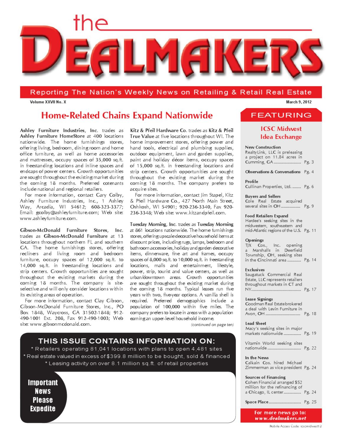 Dealmakers magazine march 9 2012 by the dealmakers for 1 furniture way arcadia wi