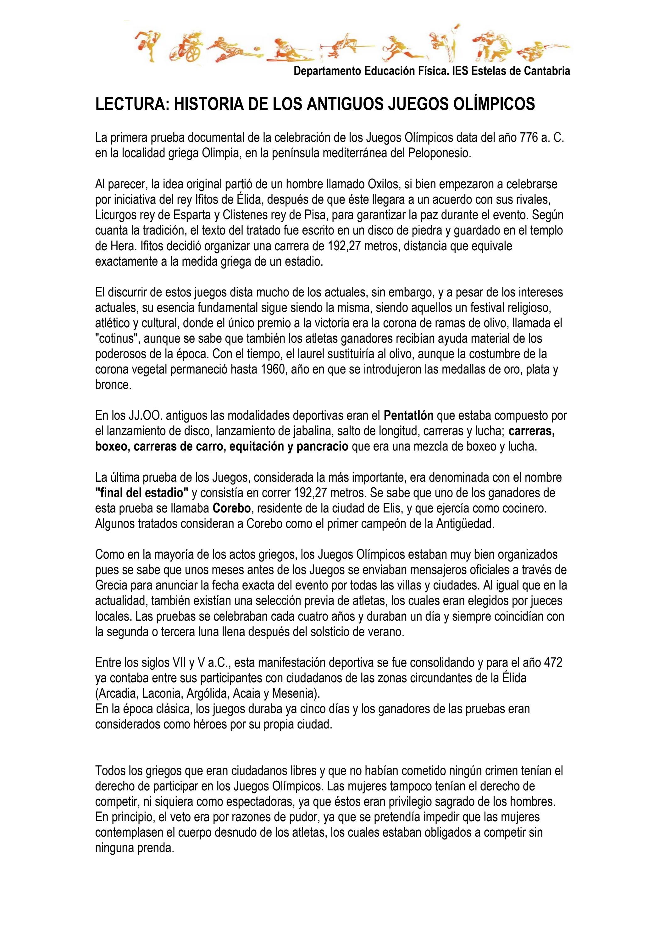 Juegos Olimpicos By Educacion Fisica Issuu