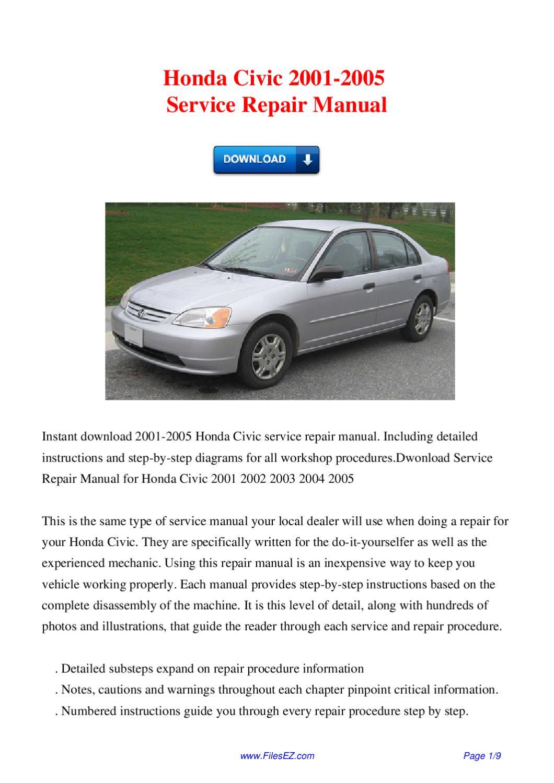 Honda Civic 2001 2005 Service Repair Manual By David Wong Issuu