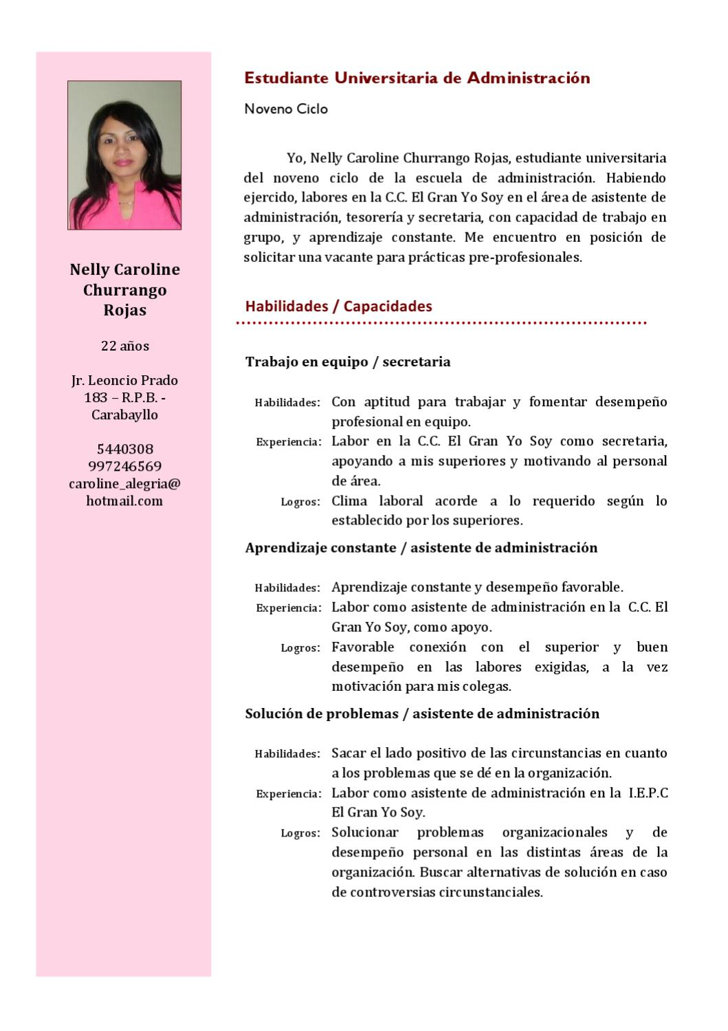 Curriculum Vitae By Nelly Churrango Issuu