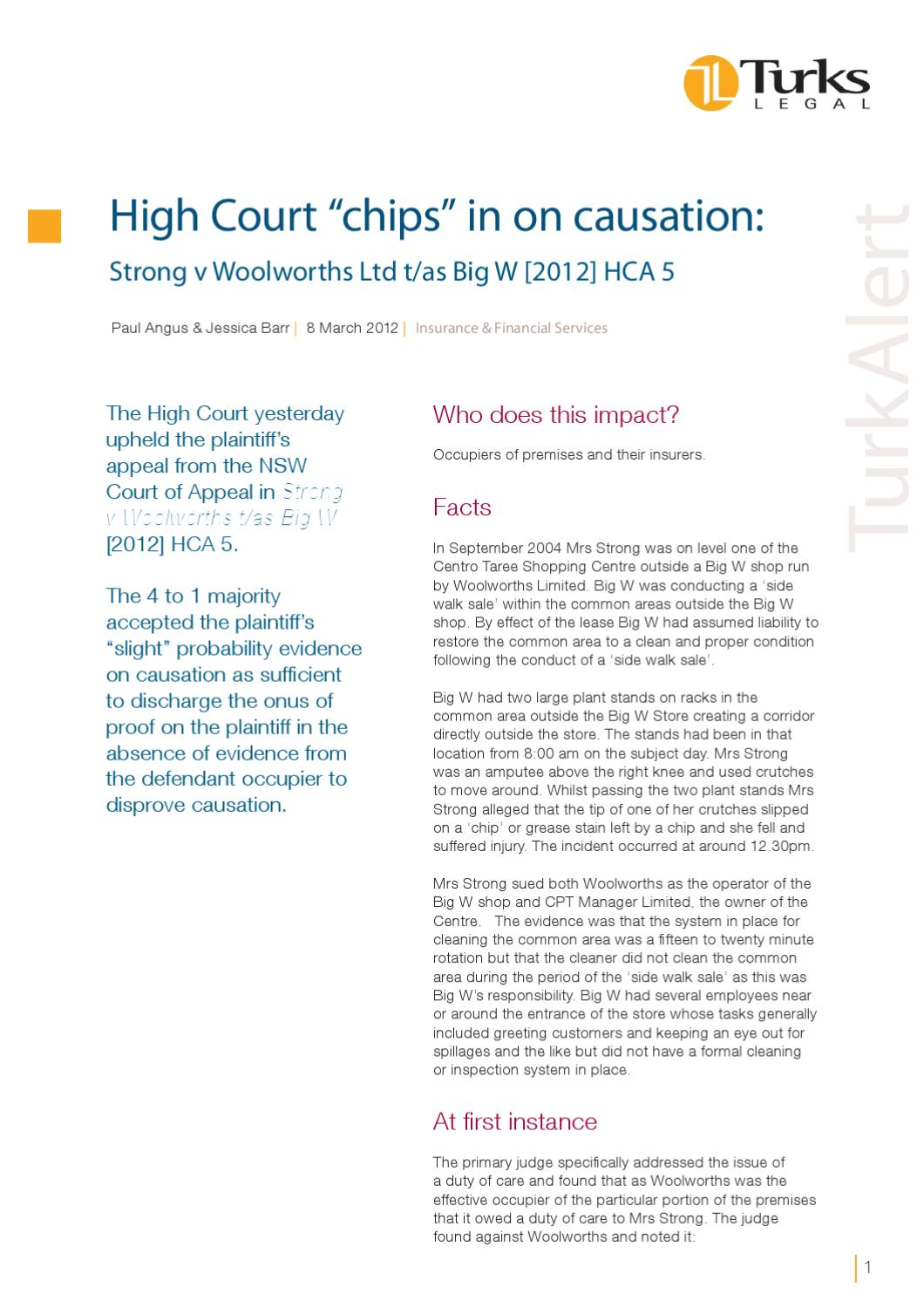 "High Court ""chips"" in on causation: Strong v Woolworths Ltd"