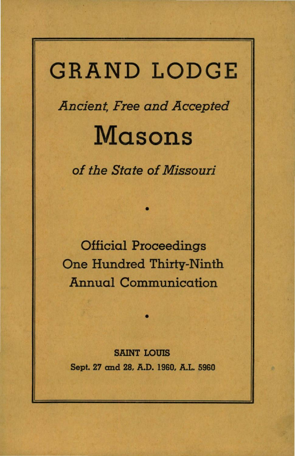 1953 Proceedings Grand Lodge Of Missouri By Missouri Freemasons