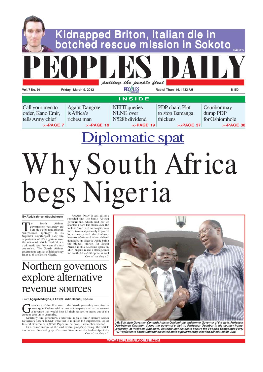 Peoples Daily Newspaper, Friday March 9, 2012 by Peoples Media