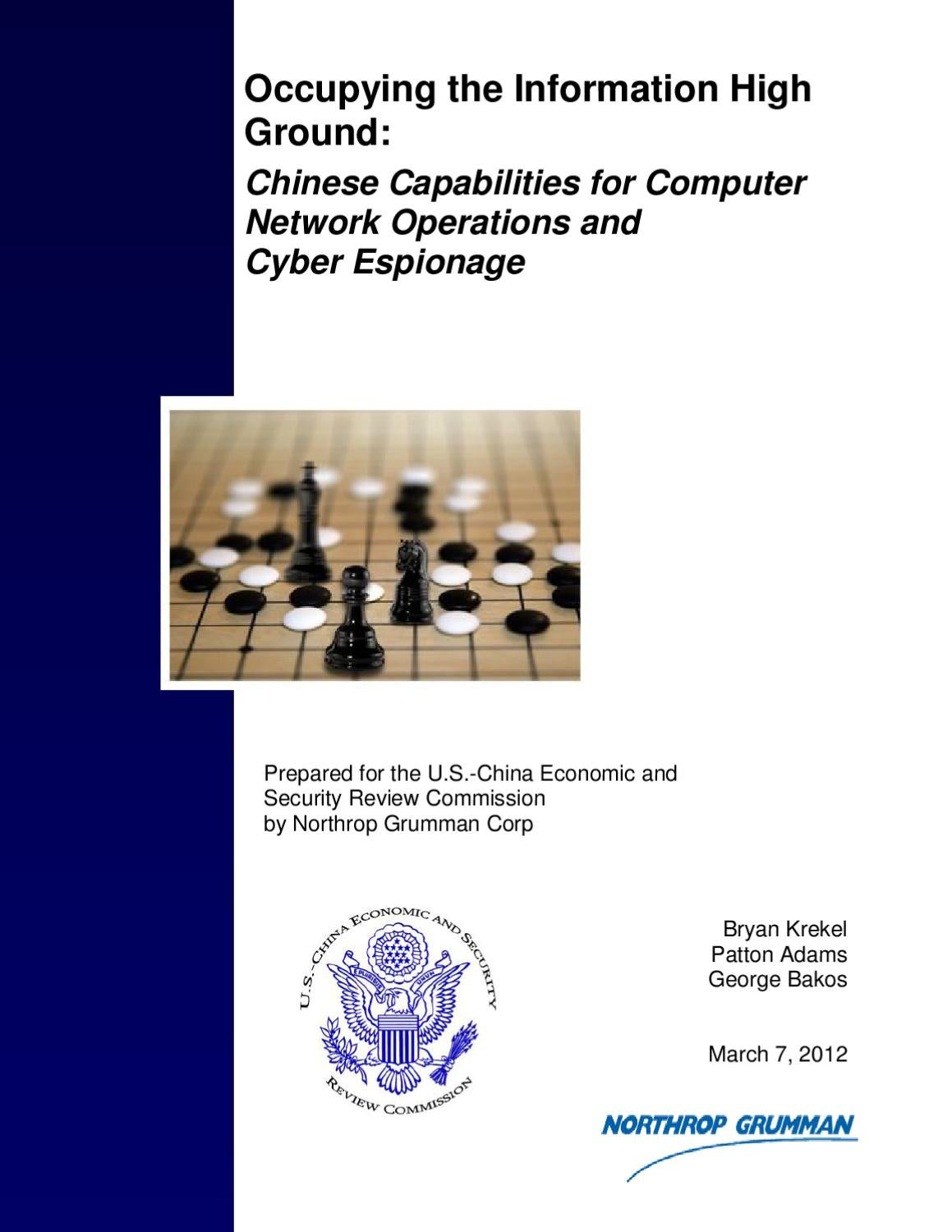 Occupying the information high ground: Chinese capabilities for cyber  espionage