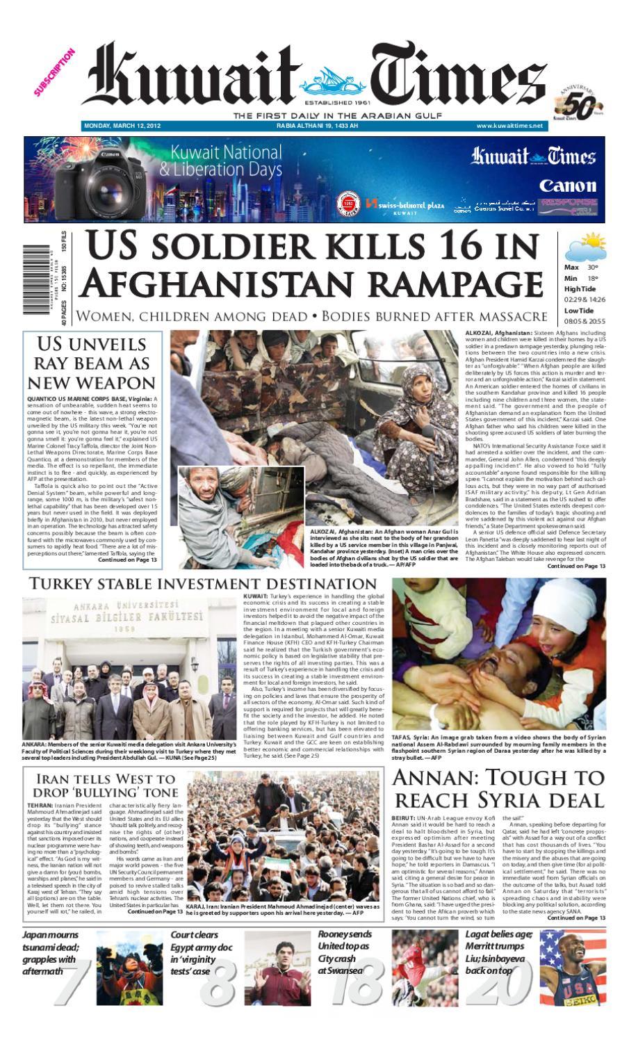 12 MAR 2012 By Kuwait Times