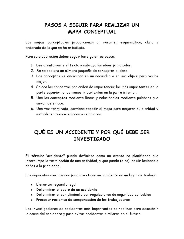 pasos mapa conceptual e investigacion de accidentes de trabajo by ...
