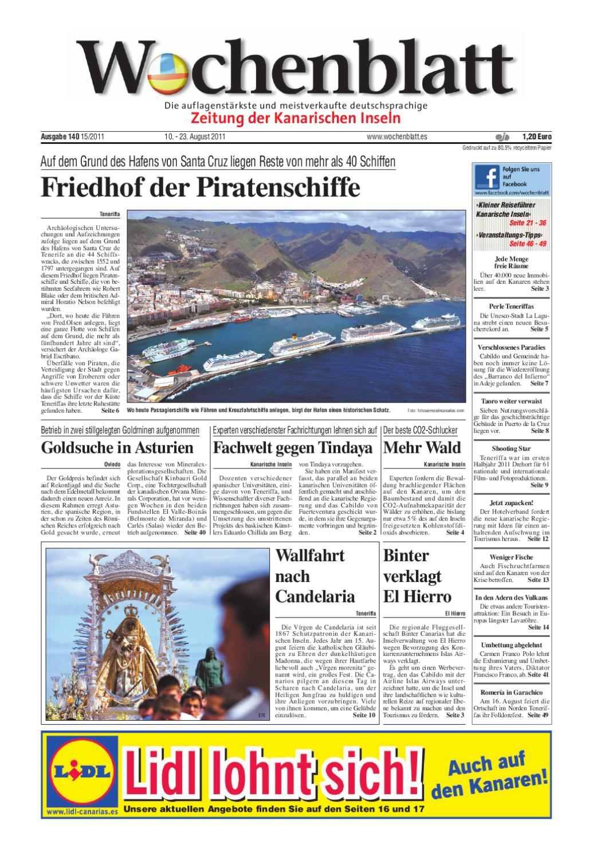 Wochenblatt Zeitung Der Kanarischen Inseln Ausgabe 140 10 23