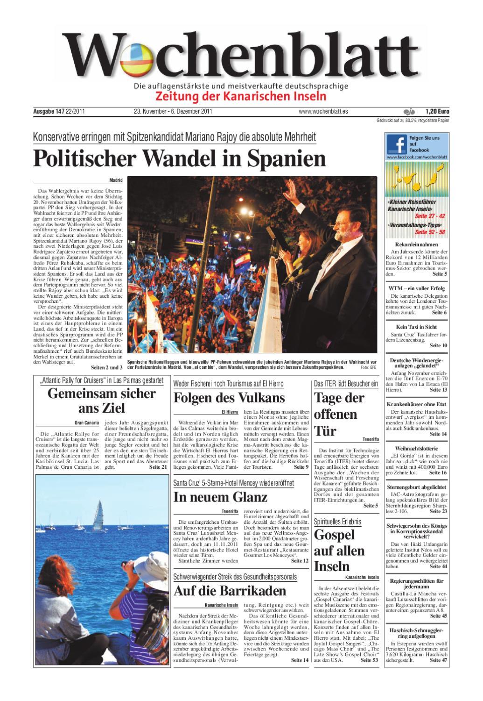 Wochenblatt - Zeitung der Kanarischen Inseln - Ausgabe 147 (23 ...