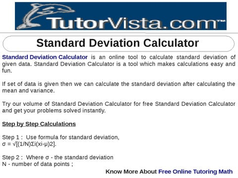 Standard Deviation Calculator by tutorvista Team - issuu
