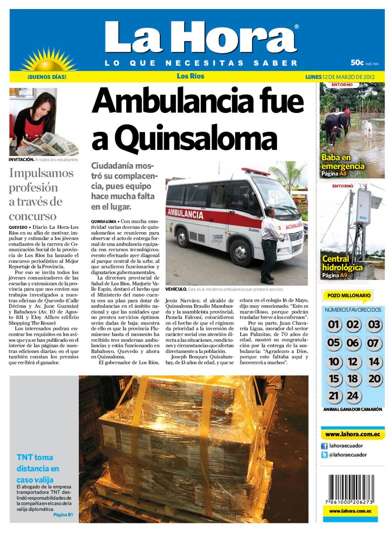 Edici N Impresa Los R Os Del 12 De Marzo De 2012 By Diario La Hora  # Muebles Umbe Horario