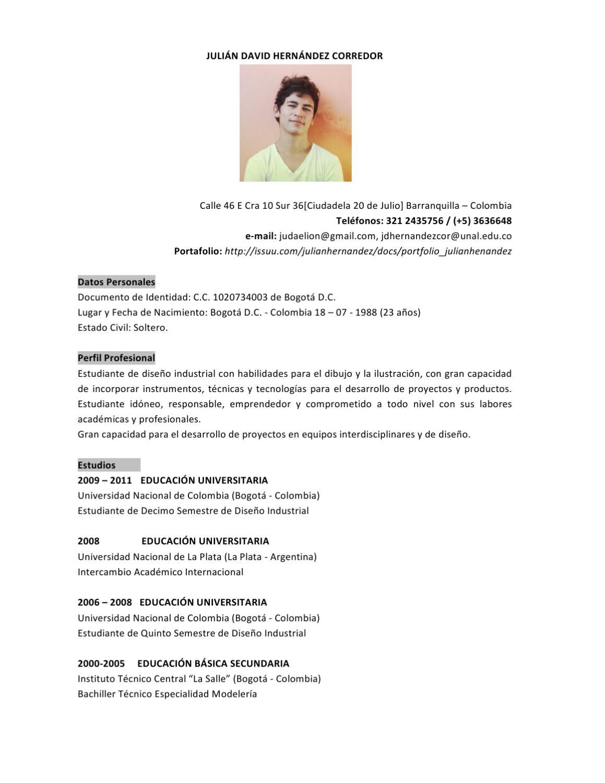 Hoja de Vida Julián Hernández / 2012 / Diseñador Industrial # by Ju ...