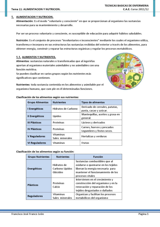 grupo de alimentos clasificacion y valor nutritivo