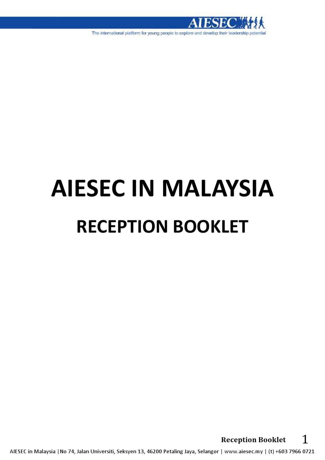 Aiesec In Malaysia Reception Booklet By Aiesec In Malaysia Issuu