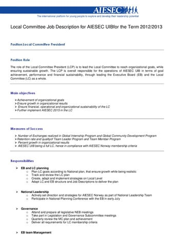 Job Description Local Committee President Aiesec Uib  By