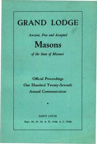 1948 Proceedings Grand Lodge Of Missouri By Missouri Freemasons
