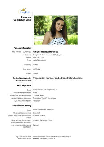 Cv English By Hatidzhe Mestanova Issuu