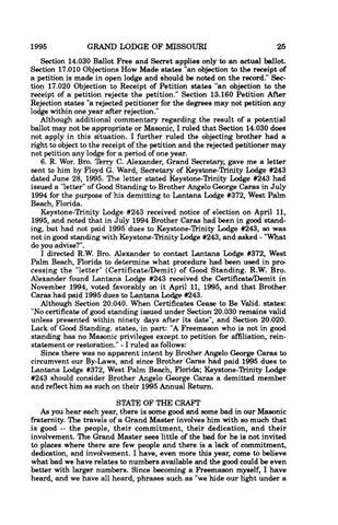 1995 Proceedings - Grand Lodge of Missouri by Missouri Freemasons ...