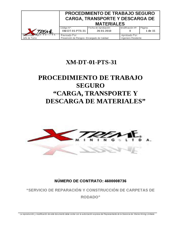 XM-DT-01-PTS-31 CARGA, TRANSPORTE Y DESCARGA DE MATERIALES by ...