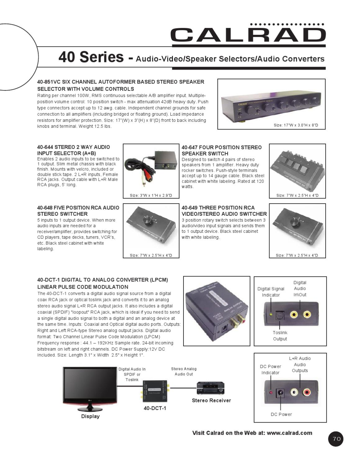 Calrad Catalog 61 By Electronics Issuu 2 Way Rca Video Switch