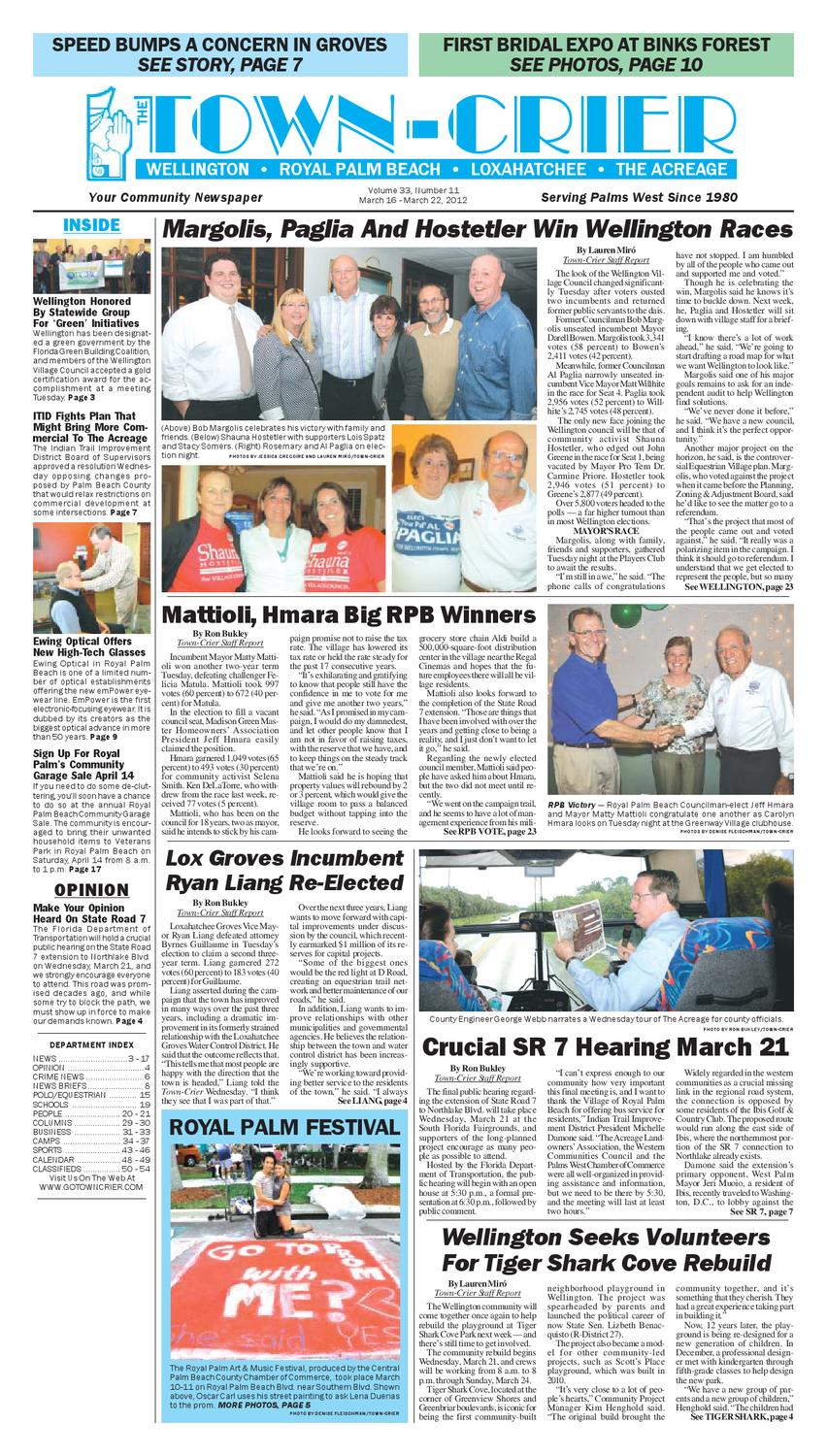 town crier newspaper march 16 2012 by wellington the magazine llc