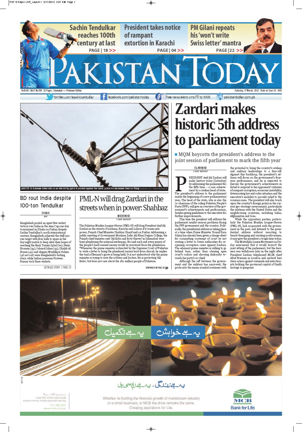 E-paper PakistanToday, 17th March, 2012 by Pakistan Today - issuu