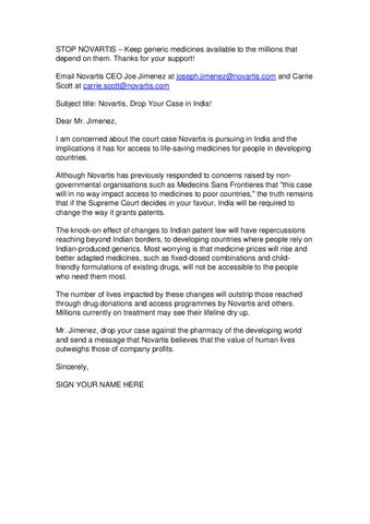 Novartis Sample Email by Friends of Médecins Sans Frontières | UK