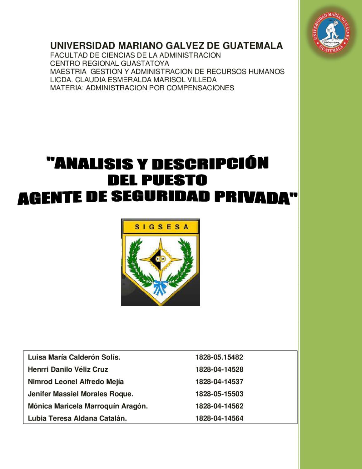 Análisis y Descripción de Puesto de Agente de Seguridad Privada by ...