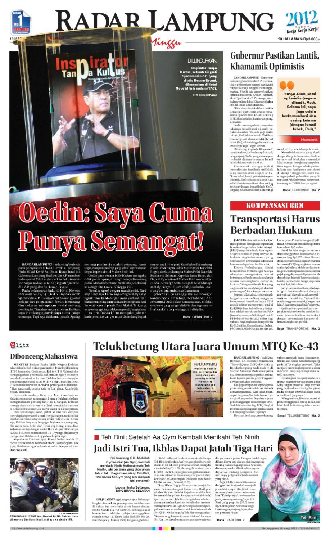 Radar Lampung Minggu 18 Maret 2012 By Ayep Kancee Issuu Produk Ukm Bumn Outer Pendek Ijo Coklat Berkerah