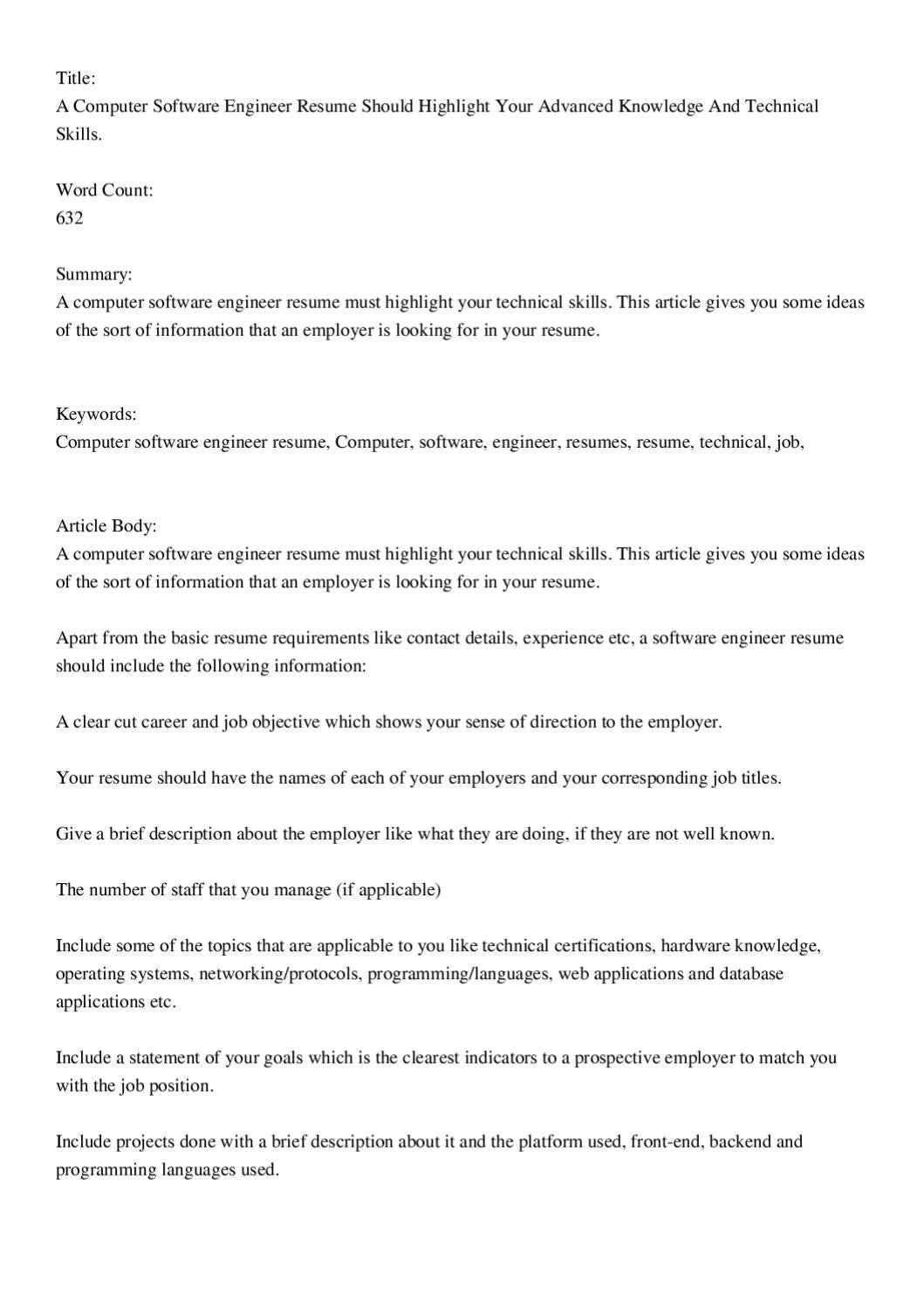 a computer software engineer resume should highlight your