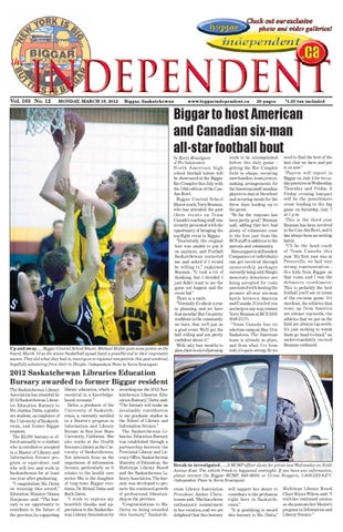 Issue 12 by daryl hasein issuu biggar to host american and canadian six man all star football bout by kevin brautigam of the independent m4hsunfo