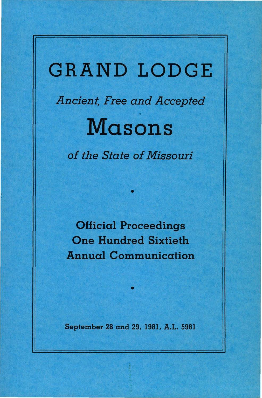 cb3919d345 1981 Proceedings - Grand Lodge of Missouri by Missouri Freemasons - issuu