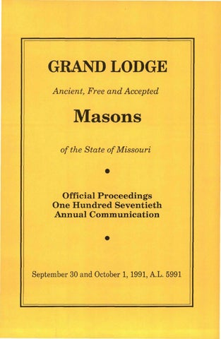1991 Proceedings Grand Lodge Of Missouri By Missouri Freemasons