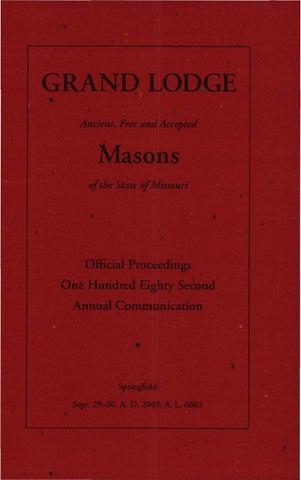 2003 proceedings grand lodge of missouri by missouri freemasons