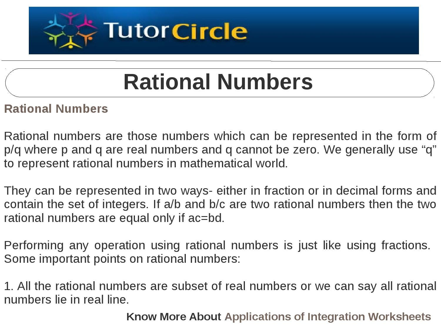 worksheet Operations With Rational Numbers Worksheet rational numbers by tutorcircle team issuu