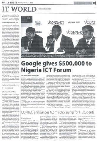 DAILY TRUST, 14 MARCH, 2011 by International Institute of Tropical