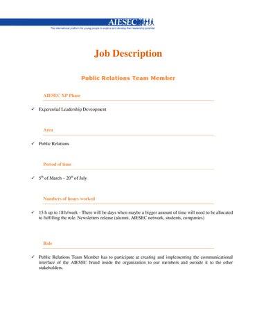 Public Relations Job Description   Job Description Public Relations By Eduard Guta Issuu