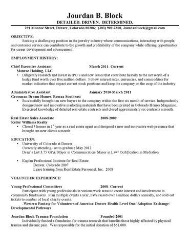 jourdan block revised resume 1 1 2 by jourdan block issuu