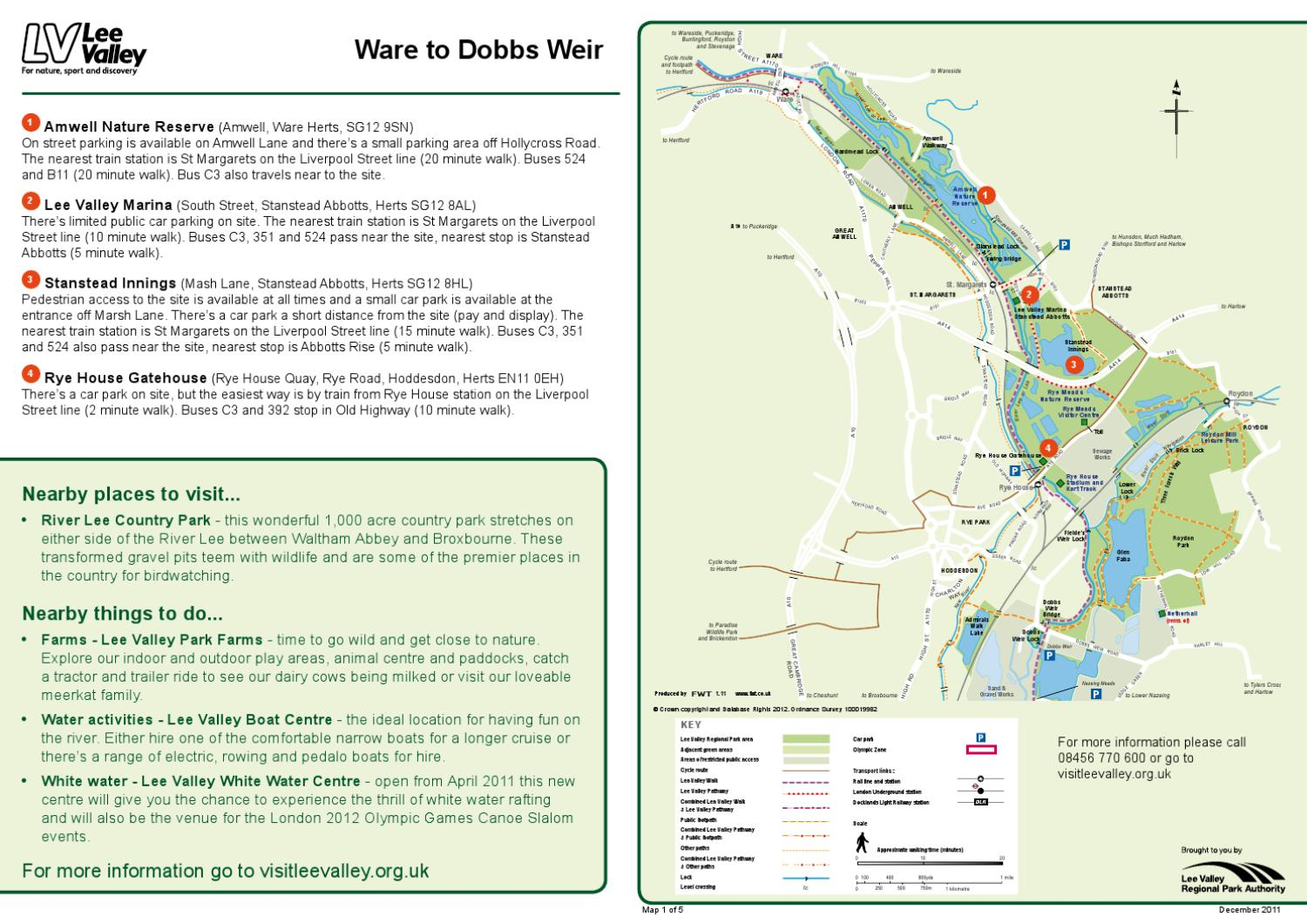getting here maps ware to dobbs weir by lee valley