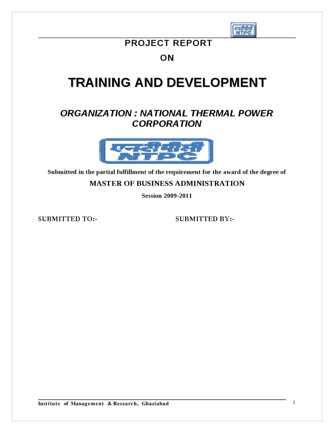 project report on training management Agency project management training, consulting and assessment  report project status to the secretary of technology and cio with appropriate recommendations for .