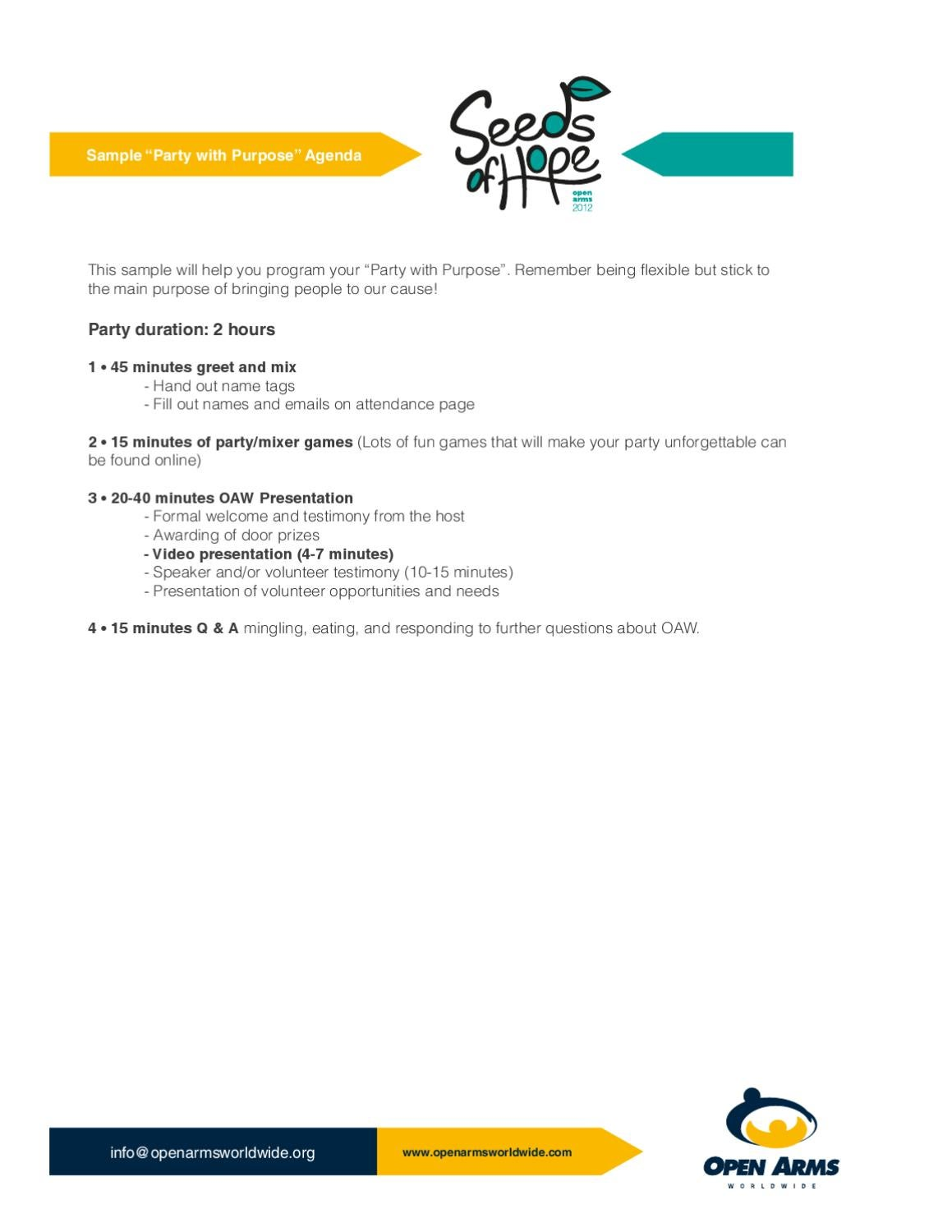 Party Agenda Model by Open Arms Worldwide - issuu