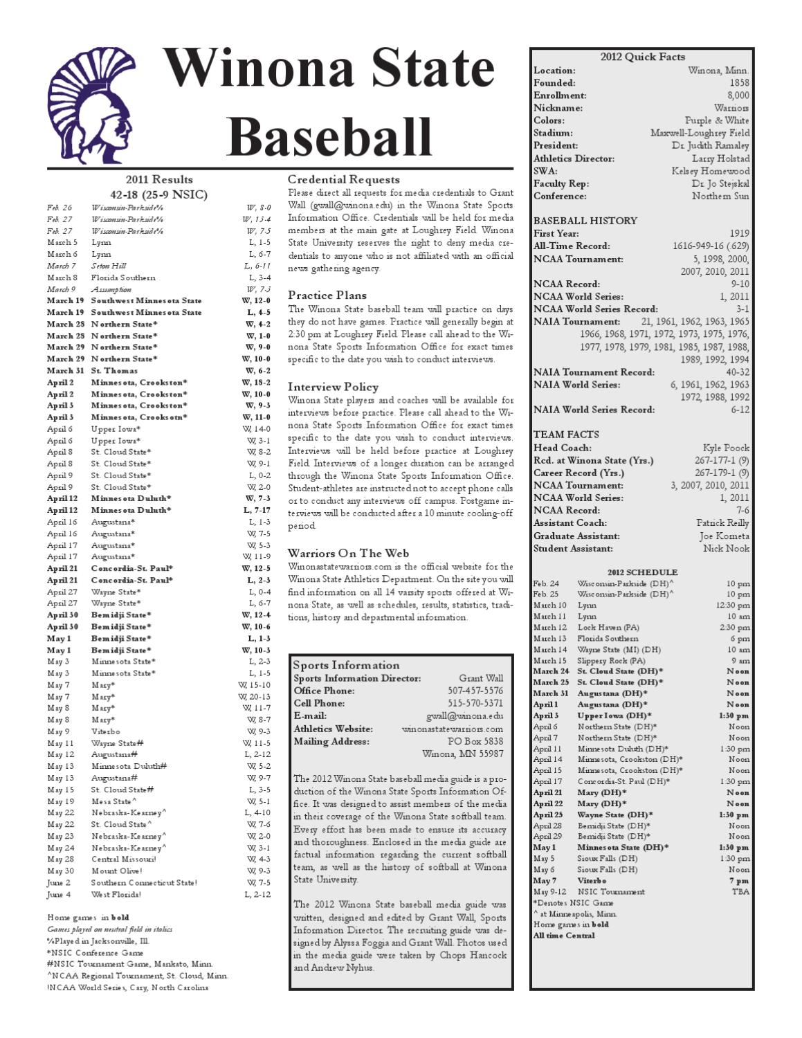 2012 Winona State Baseball Media Guide by Grant Wall - issuu