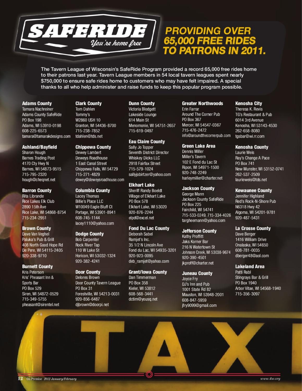2012 Tavern League of Wisconsin Membership Directory & Buyer's Guide
