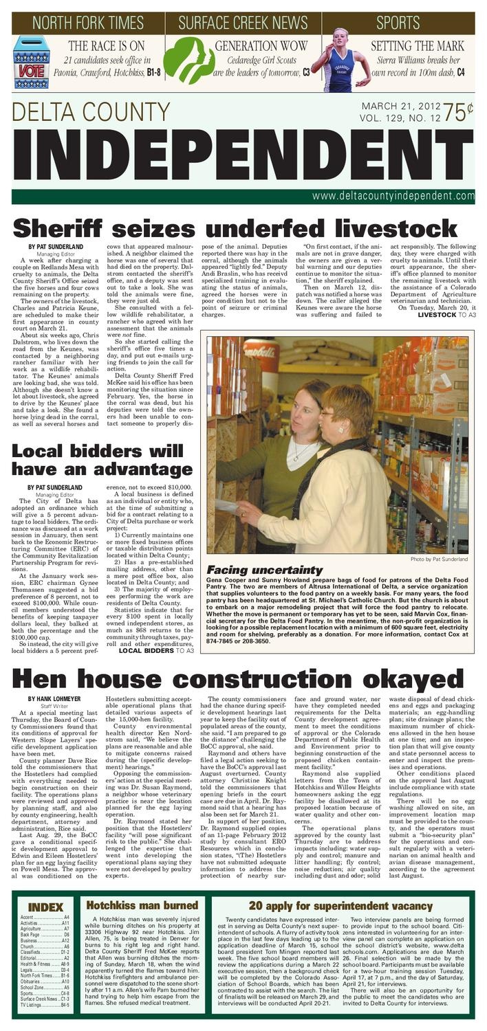 Detla County Independent Issue 12 March 21 2012 By Delta Small Snack Time Acs Tlt Series Issuu